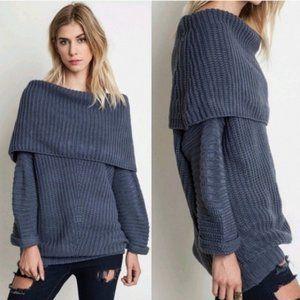 UMGEE USA Chunky Cowl Neck Cotton Blue Sweater